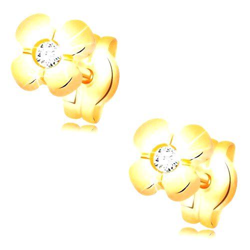 Zlaté náušnice 585 - lesklý kvietok so vsadeným čírym diamantom v strede