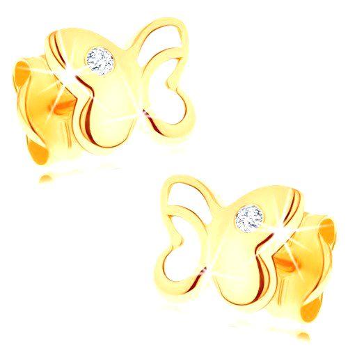 Zlaté náušnice 585 - lesklý motýľ s vyrezávanou časťou