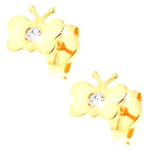 Zlaté náušnice 585 - lesklý plochý motýlik