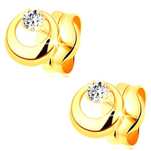 Zlaté náušnice 585 - ligotavý briliant čírej farby vo vypuklom kruhu s výrezom
