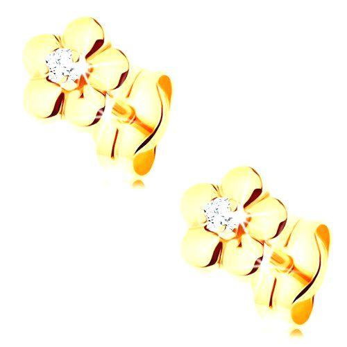 Zlaté náušnice 585 - malý lesklý kvietok