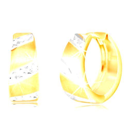 Zlaté náušnice 585 - matný rozšírený krúžok
