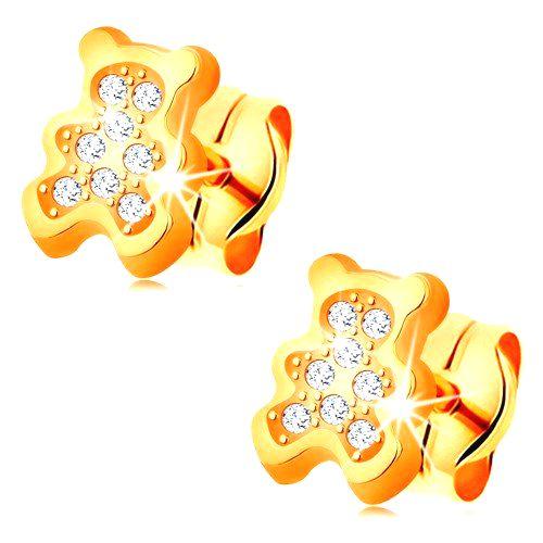 Zlaté náušnice 585 - medvedík vykladaný čírymi zirkónmi