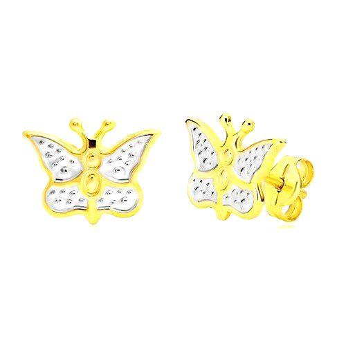 Zlaté náušnice 585 - motýlik zdobený bielym zlatom a bodkami