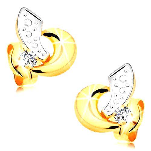 Zlaté náušnice 585 - oblúčiky z bieleho a žltého zlata