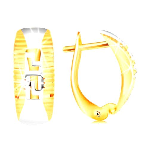 Zlaté náušnice 585 - oblúk lemovaný ryhami