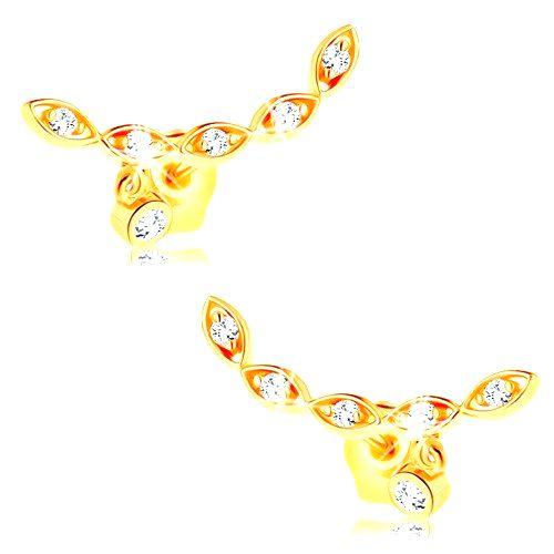 Zlaté náušnice 585 - oblúk z pospájaných zrniek