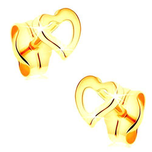 Zlaté náušnice 585 - obrys asymetrického srdiečka