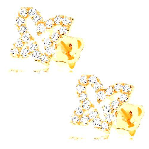 Zlaté náušnice 585 - obrys motýľa vykladaný čírymi zirkónmi