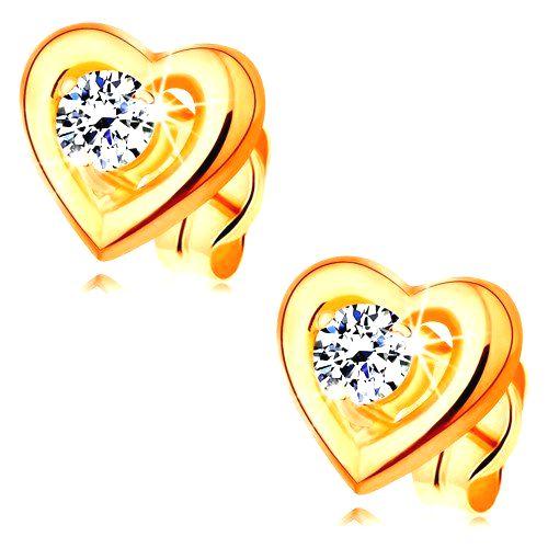 Zlaté náušnice 585 - obrys súmerného srdiečka