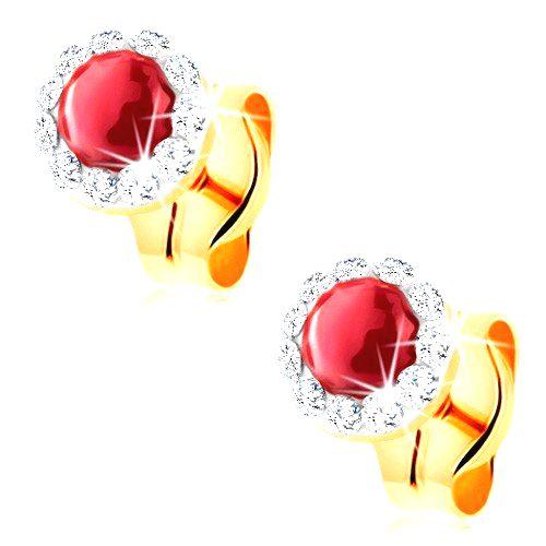 Zlaté náušnice 585 - okrúhly červený rubín