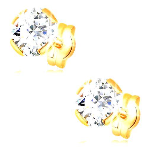 Zlaté náušnice 585 - okrúhly zirkón čírej farby