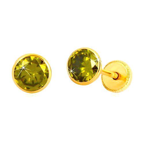 Zlaté náušnice 585 - okrúhly zirkón zelenej farby