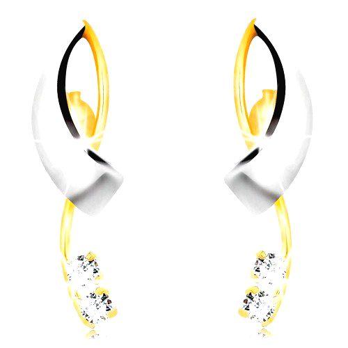 Zlaté náušnice 585 - prekrížené dvojfarebné línie