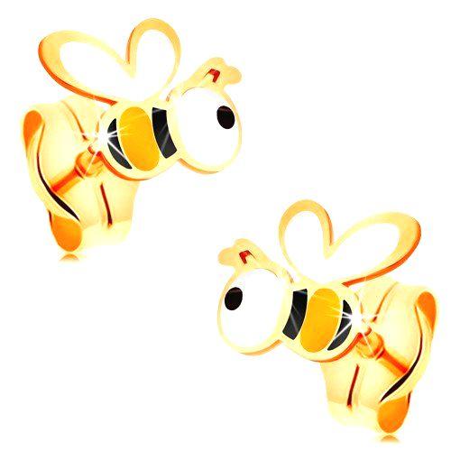 Zlaté náušnice 585 - roztomilé včeličky s farebnou glazúrou