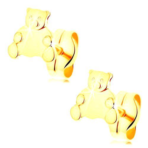 Zlaté náušnice 585 - roztomilý sediaci medvedík