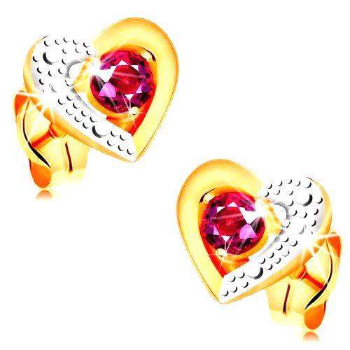 Zlaté náušnice 585 - ružový rubín v dvojfarebnom obryse srdca