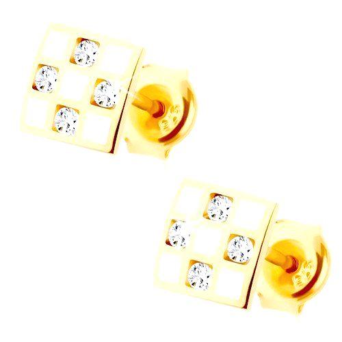 Zlaté náušnice 585 - štvorček so šachovnicou