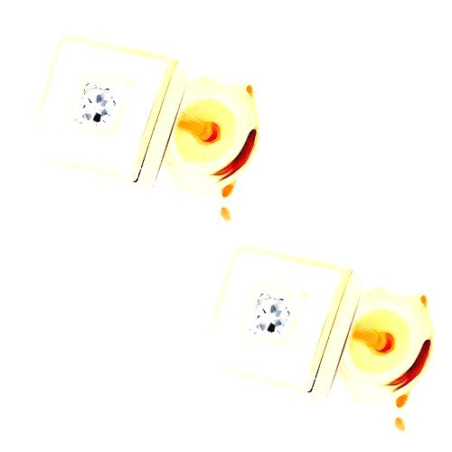 Zlaté náušnice 585 - štvorček zdobený bielou glazúrou