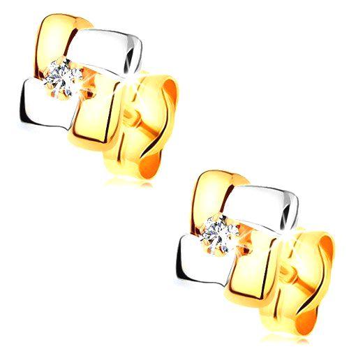 Zlaté náušnice 585 - štvorec z dvojfarebných pásov