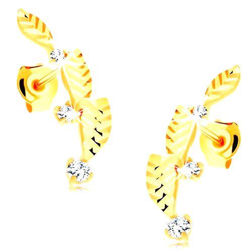 Zlaté náušnice 585 - tri lístočky zdobené diamantovým rezom