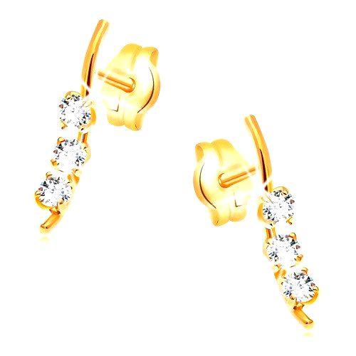 Zlaté náušnice 585 - úzka vlnka s tromi zirkónmi čírej farby