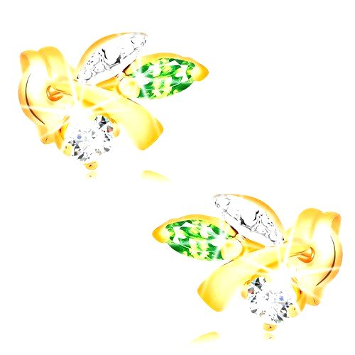Zlaté náušnice 585 - vetvička s listami