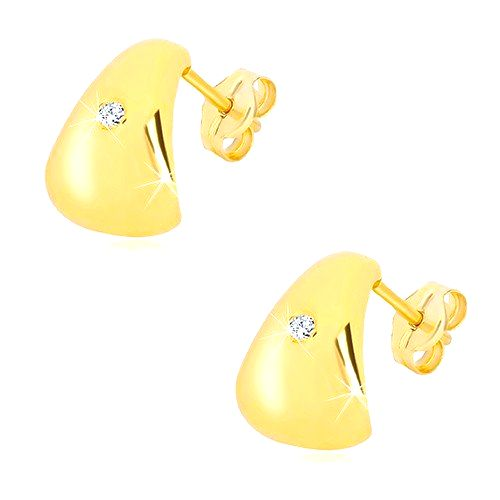 Zlaté náušnice 585 - žiarivý číry briliant na veľkom zaoblenom trojuholníku
