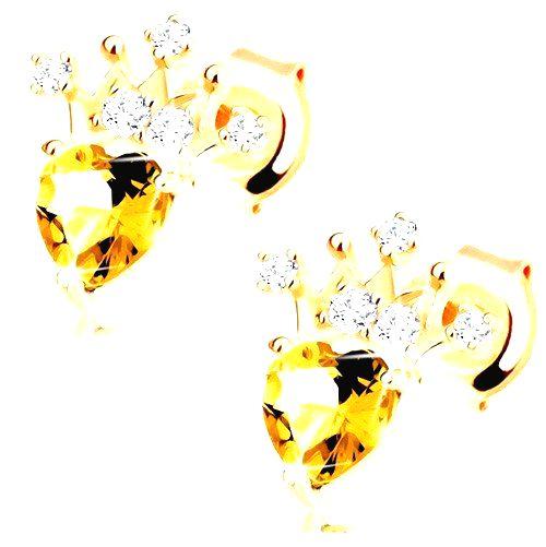 Zlaté náušnice 585 - zirkónová korunka
