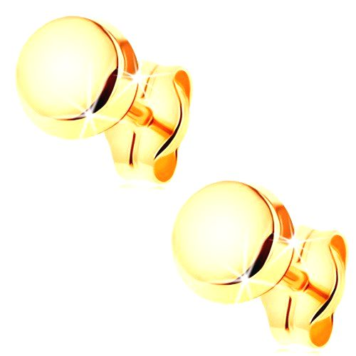 Zlaté náušnice 585 - zrkadlovolesklý a hladký kruh