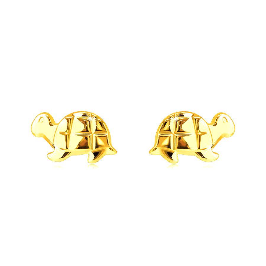 Zlaté náušnice z 9K zlata - zrkadlovolesklá korytnačka s gravírovaním