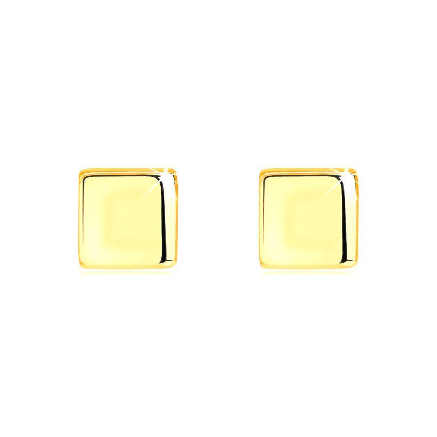 Zlaté náušnice zo 14K žltého zlata - pravidelný štvorec