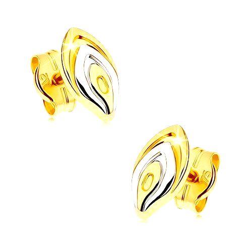 Zlaté puzetové náušnice 375 - dvojfarebný lupeň kvetu