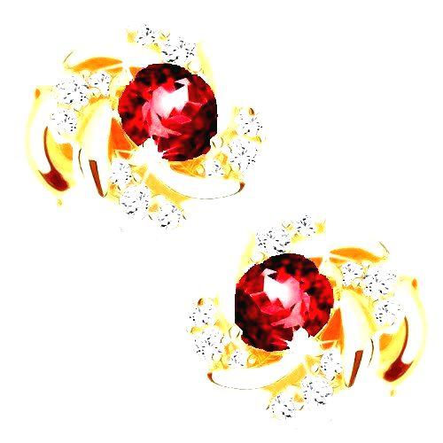 Zlaté puzetové náušnice 375 - kvietok z červeného granátu