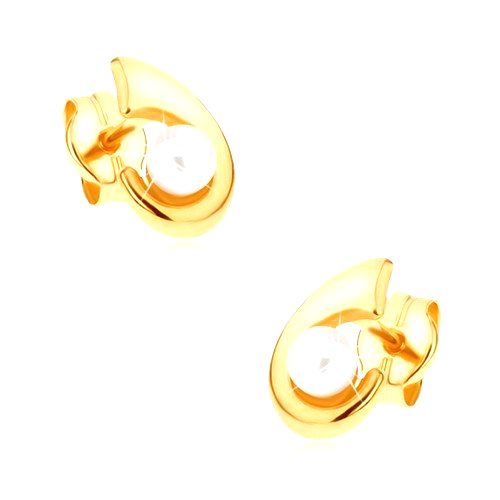 Zlaté puzetové náušnice 375 - ligotavý háčik