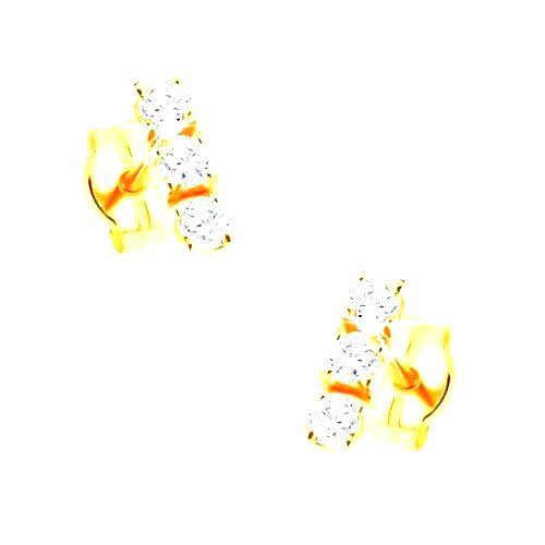 Zlaté puzetové náušnice 375 - zvislá línia troch zirkónov čírej farby