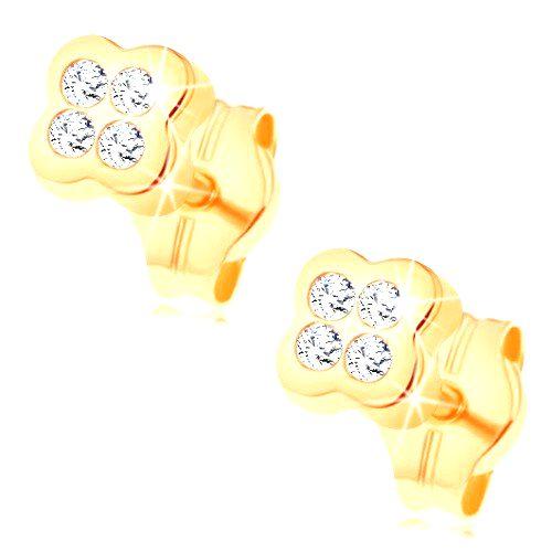 Zlaté puzetové náušnice 585 - kvietok vykladaný čírymi zirkónikmi