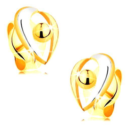 Zlaté puzetové náušnice 585 - oblúčiky v bielom a žltom zlate