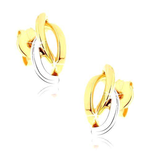Zlaté ródiované náušnice 375