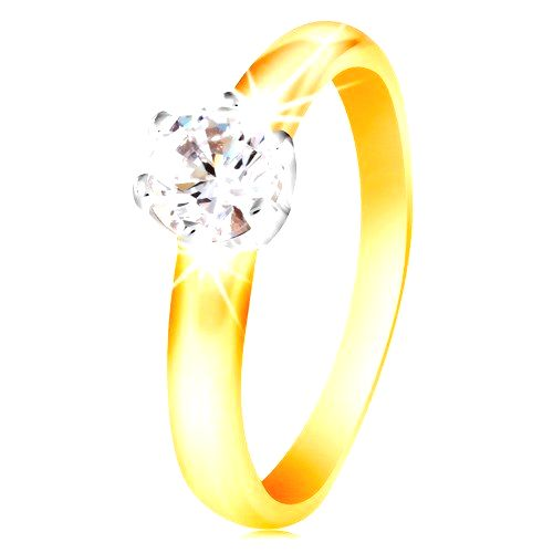 Zlatý 14K dvojfarebný prsteň - číry zirkón v šesťcípom kotlíku