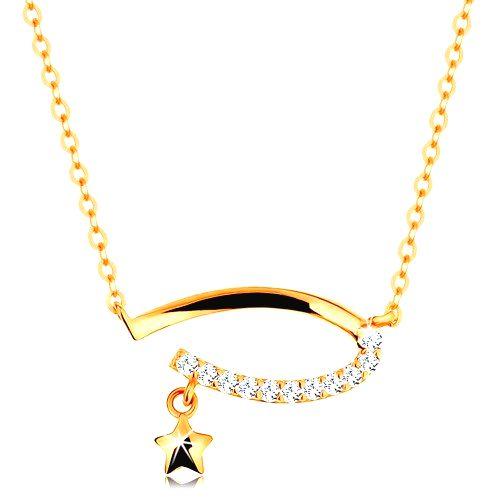 Zlatý 14K náhrdelník - neúplný ovál s čírymi zirkónmi
