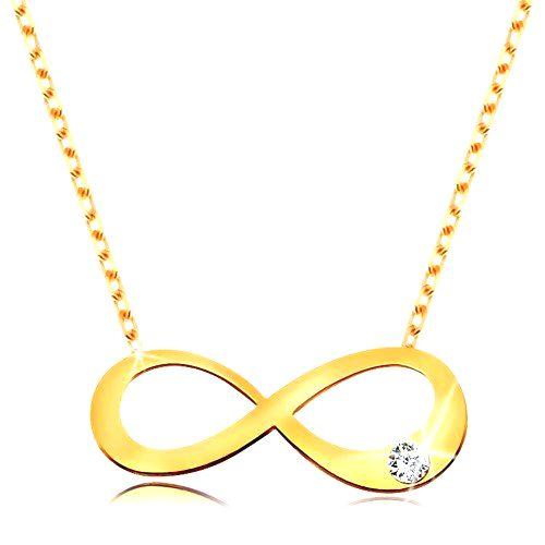 Zlatý 14K náhrdelník - plochý symbol nekonečna s čírym briliantom