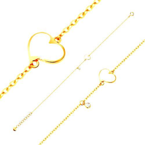 Zlatý 14K náramok - biele nesúmerné srdce a číry zirkónik