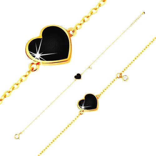 Zlatý 14K náramok - čierne glazúrované srdce a číry zirkónik