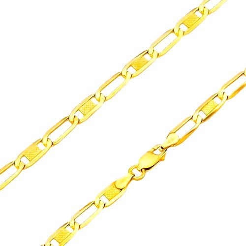 Zlatý 14K náramok - lesklé oválne očká s mriežkou a prázdne