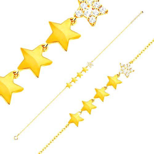 Zlatý 14K náramok - línia piatich hviezdičiek