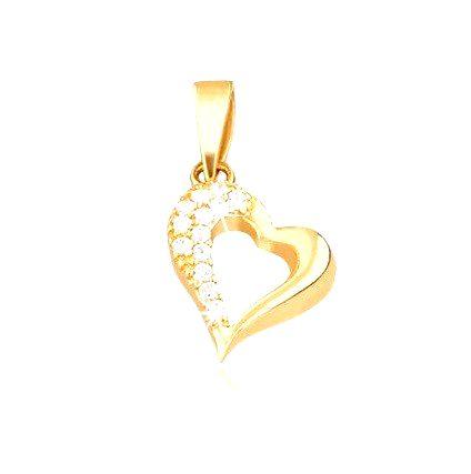Zlatý 14K prívesok - kontúra nepravidelného srdca