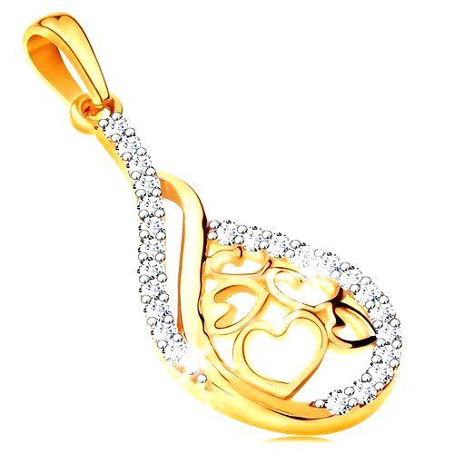 Zlatý 14K prívesok - kvapka so srdiečkami v strede