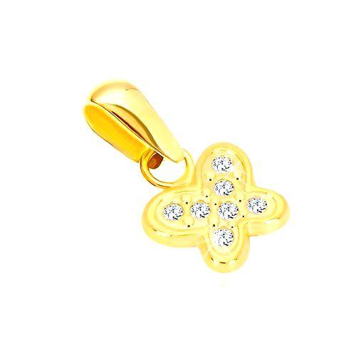 Zlatý 14K prívesok - lesklý motýlik vykladaný drobnými čírymi zirkónikmi