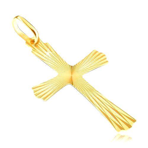 Zlatý 14K prívesok - lúčovitý kríž so zvlnenými koncami